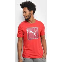 Camiseta Puma Cat Brand Graphic Masculina - Masculino-Vermelho