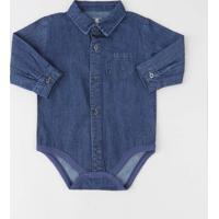 Body Camisa Jeans Infantil Com Bolso Manga Longa Azul Escuro
