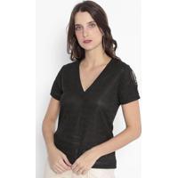 Blusa Texturizada & Listrada Com Bordados - Preta - Km2