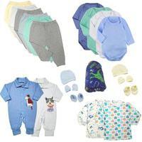 Kit Roupas De Bebê 21 Peças Enxoval Completo Menino E Menina Azul
