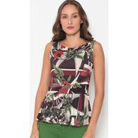 Blusa Floral Com Recortes - Preta & Vermelha - Forumforum