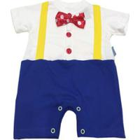 Fantasia Palhaço Bebê Masculina - Masculino-Branco+Azul