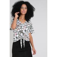 Blusa Feminina Estampada Floral Com Nó Manga Curta Decote V Branca