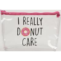"Nécessaire Feminina ""I Really Donut Care"" Rosa Pink - Único"