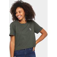 Blusa Cropped Calvin Klein Logo Mirror Feminina - Feminino-Verde Militar