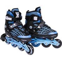 Patins Rollers Inline Aluminium Premium Bel Sports - Unissex-Preto+Azul