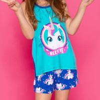 Pijama Unicórnio - Azul Claro & Azul Escuropuket