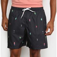 Shorts Mash Estampado Fun Masculino - Masculino-Preto