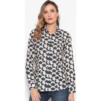 Camisa Geométrica - Off White & Azul Marinhodudalina