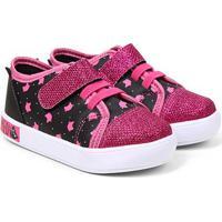 Tênis Infantil Luelua Gatinhos Velcro Feminino - Feminino-Preto+Pink