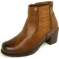 Bota Sapatofranca Ankle Boot Com Fecho Éclair Não Possui Cadarço Whisky