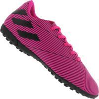 Chuteira Society Adidas Nemeziz 19.4 Tf - Adulto - Rosa/Preto