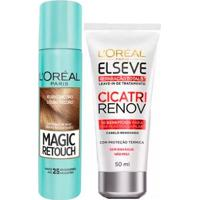 Kit L'Oréal Paris Magic Retouch + Cicatri Renov Kit Leave-In + Corretivo Capilar Louro Escuro - Unissex-Incolor