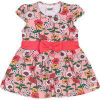 Vestido Duzizo Em Cotton Com Estampa Floral Rosa Claro