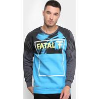 Blusa Moletom Fatal U Rag Logo Masculina - Masculino-Azul Turquesa