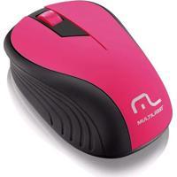 Mouse Sem Fio 2,4 Ghz Com Usb Multilaser Rosa/Preto