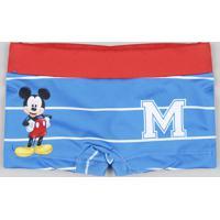 Sunga Boxer Infantil Mickey Listrada Azul