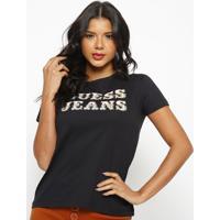 "Blusa ""Guessâ® Jeans""- Preta & Laranja- Guessguess"