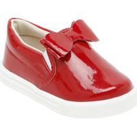 Slip On Com Laã§O - Vermelho & Branco- Bambinibambini