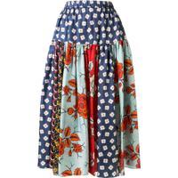 Biyan Saia Midi Cintura Alta Floral - Estampado