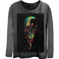 Camiseta Estonada Manga Longa Skull Colors