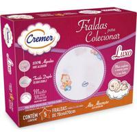 Fralda Luxo Cremer Estampada 5 Peças - Feminino-Branco