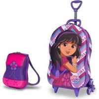 Mochila Escolar 3D Com Rodinhas E Lancheira Maxtoy Dora Friends Feminina - Feminino-Rosa Escuro