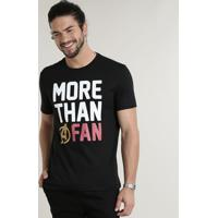 "Camiseta Masculina Os Vingadores ""More Than A Fan"" Manga Curta Gola Careca Preta"