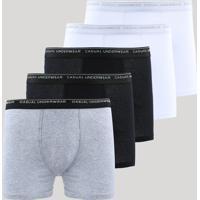 Kit De 5 Cuecas Masculinas Boxer Multicor
