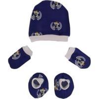 Kit Touquinha Com Luvinhas E Sapatinhos Bebê Recém Nascido Ursinho Príncipe Masculino - Masculino-Azul