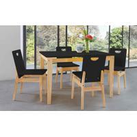 Conjunto De Mesa De Jantar Com 4 Cadeiras Tucupi 120Cm - Acabamento Stain Natural E Laca Preto