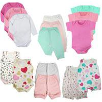 Kit Enxoval Bebê 15 Peças Body Mijão Macacão E Shorts Promo Rosa