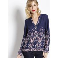 Blusa Floral Com Barrado- Azul Marinho & Rosa- Vip Rvip Reserva