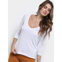 Blusa Cantão Decote V Malha Viscose Feminina - Feminino-Branco