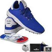 Kit Tênis Polo Joy + Carteira Chinelo Cinto E Meia - Masculino-Azul