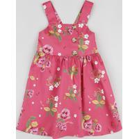 Vestido Infantil Estampado Floral Alça Média Rosa