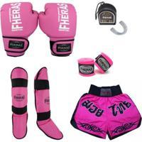 Kit Boxe Tradicional - Luva Bandagem Bucal Caneleira Shorts - 08 Oz - Unissex