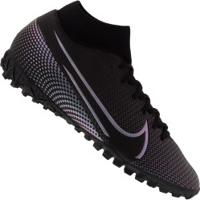Chuteira Society Nike Mercurial Superfly 7 Academy Tf - Adulto - Preto