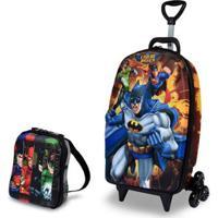 Mochila Escolar 3D Com Rodinhas E Lancheira Maxtoy Liga Da Justiça Batman Masculina - Masculino-Preto+Azul
