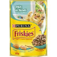 Ração Para Gatos Friskies Adultos Sachê Sabor Mix De Peixes Ao Molho Com 85G