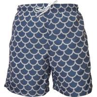 Shorts Mash Cordão Escamas Masculino - Masculino-Marinho