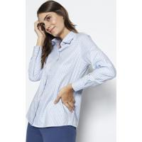 Camisa Xadrez Com Algodão Egípcio - Rosa & Branca - Dudalina