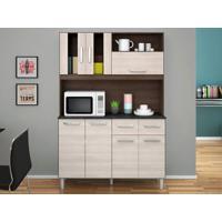 Cozinha Compacta 7 Portas Ellen Capuccino/Amêndoa - Lc Móveis