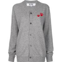 Comme Des Garçons Play Double Heart-Patch Knit Cardigan - Cinza
