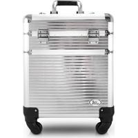 Maleta Profissional 2 Andares Com Rodinhas De 360º Aluminio Jacki Design Beauty Prata - Tricae