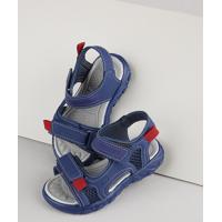 Sandália Papete Infantil Baby Club Com Velcro Azul Marinho