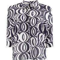 Sara Lanzi Camiseta Com Estampa Óptica - Roxo