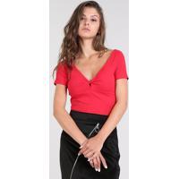 Blusa Feminina Cropped Canelada Transpassada Manga Curta Vermelha