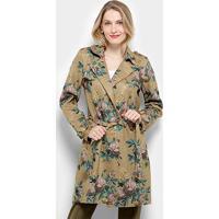 Casaco Sobretudo Lily Fashion Trench Coat Estampado Feminina - Feminino-Bege