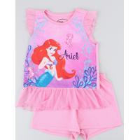 Pijama Infantil Pequena Sereia Ariel Com Tule Regata Rosa